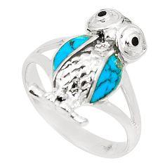 Fine blue turquoise onyx enamel 925 silver owl ring size 7.5 c12684