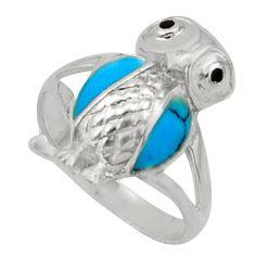 3.02gms fine blue turquoise onyx enamel 925 silver owl ring size 6 c26288