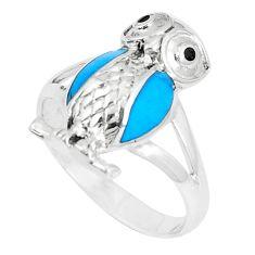 3.48gms fine blue turquoise onyx enamel 925 silver owl ring size 8 a93329 c13387