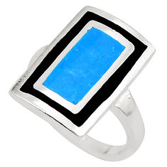 Fine blue turquoise onyx enamel 925 sterling silver ring size 6.5 a75958 c13535