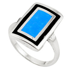 Fine blue turquoise onyx enamel 925 sterling silver ring size 9 a69609 c13530