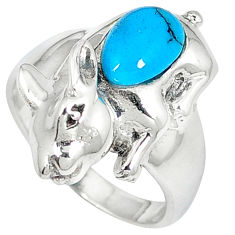 Fine blue turquoise oval 925 sterling silver rabbit ring jewelry size 7.5 c12042