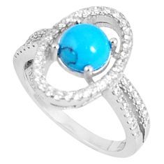 3.50cts fine blue turquoise topaz 925 sterling silver ring jewelry size 6 c23630