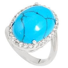13.41cts fine blue turquoise topaz 925 sterling silver ring size 7 c11480