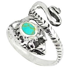 Fine green turquoise 925 silver anaconda snake ring size 6.5 c12264