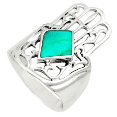 Fine green turquoise 925 silver hand of god hamsa ring size 7.5 c21642