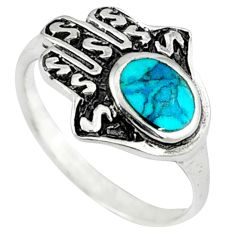 Fine green turquoise 925 silver hand of god hamsa ring jewelry size 6.5 c10712