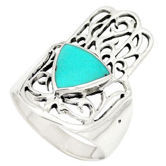 Fine green turquoise 925 silver hand of god hamsa ring size 7 c11975