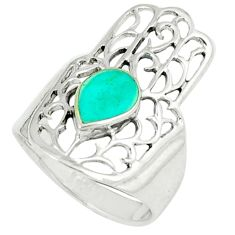 4.25gms fine green turquoise 925 silver hand of god hamsa ring size 7 c11977