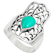 2.24cts fine green turquoise 925 silver hand of god hamsa ring size 7 c12739
