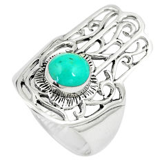 1.37cts fine green turquoise 925 silver hand of god hamsa ring size 7 c12748