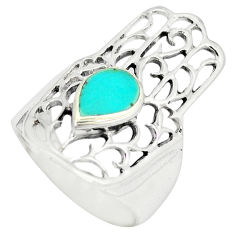 Fine green turquoise 925 silver hand of god hamsa ring size 9 c11968
