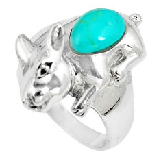 2.06cts fine green turquoise 925 silver rabbit charm ring jewelry size 7 c12232