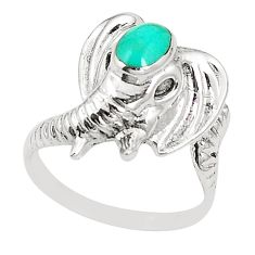 Fine green turquoise 925 sterling silver elephant ring jewelry size 7.5 c12207