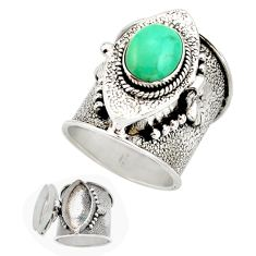 4.00cts fine green turquoise 925 sterling silver poison box ring size 8 r26634