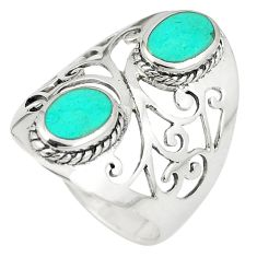 Fine green turquoise 925 sterling silver ring jewelry size 7.5 c11942