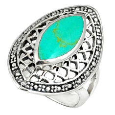 Fine green turquoise 925 sterling silver ring jewelry size 5.5 c12040