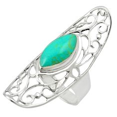 Fine green turquoise 925 sterling silver ring jewelry size 6.5 c12116
