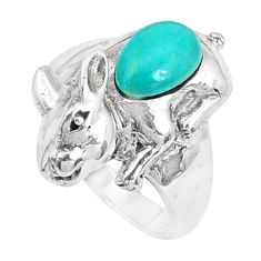 2.17cts fine green turquoise 925 sterling silver ring jewelry size 7.5 c12623