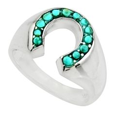 1.33cts fine green turquoise 925 sterling silver ring jewelry size 5.5 c9809