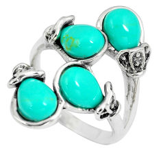 9.47cts fine green turquoise 925 sterling silver ring jewelry size 7 c12716