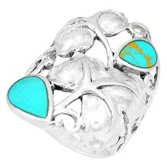 9.02gms fine green turquoise 925 sterling silver ring jewelry size 7 c18440