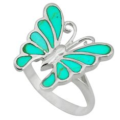 Fine green turquoise enamel 925 silver butterfly ring size 8 a55159 c13292