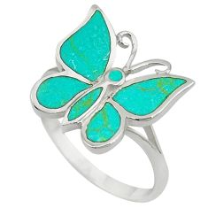 Fine green turquoise enamel 925 silver butterfly ring size 9 a55171 c13434