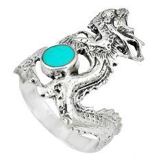 4.89gms fine green turquoise enamel 925 silver dragon ring size 9 c12630
