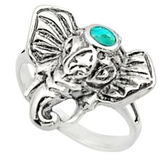 3.48gms fine green turquoise enamel 925 silver elephant ring size 5 c9807