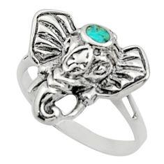 3.87gms fine green turquoise enamel 925 silver elephant ring size 7 c9805