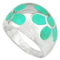 Fine green turquoise enamel 925 silver flower ring size 8.5 a39909 c13346