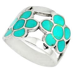 Fine green turquoise enamel 925 silver flower ring jewelry size 8.5 c12036