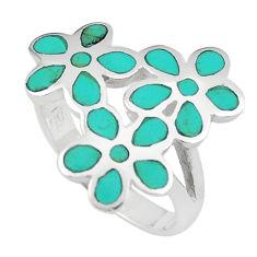 5.48gms fine green turquoise enamel 925 silver flower ring size 7 c12609