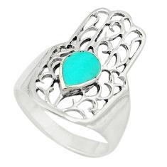 Fine green turquoise enamel 925 silver hand of god hamsa ring size 5.5 c21643