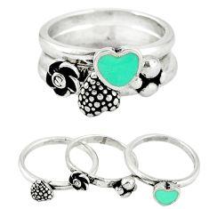 Fine green turquoise enamel 925 silver heart stackable 3 rings size 8.5 c20952