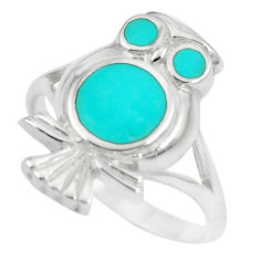 5.48gms fine green turquoise enamel 925 silver owl ring size 8.5 a88561 c13470