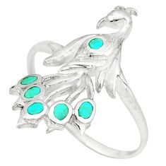 Fine green turquoise enamel 925 silver peacock ring size 7.5 a49559 c13389