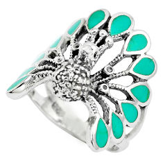 6.02gms fine green turquoise enamel 925 silver peacock ring size 6.5 c12402