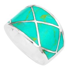 4.89gms fine green turquoise enamel 925 silver ring size 6.5 a88769 c13349