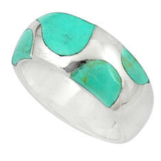 6.26gms fine green turquoise enamel 925 silver ring size 5.5 a91992 c13065