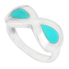 5.02gms fine green turquoise enamel 925 silver ring size 6.5 a93362 c13149