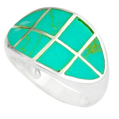 5.26gms fine green turquoise enamel 925 silver ring size 6 a88565 c13064