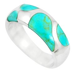 6.26gms fine green turquoise enamel 925 silver ring size 8 a88521 c13183