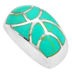 5.89gms fine green turquoise enamel 925 silver ring size 9 a88717 c13352