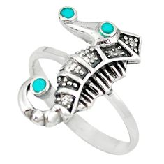 Fine green turquoise enamel 925 silver seahorse ring size 7.5 a49508 c13491