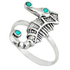 Fine green turquoise enamel 925 silver seahorse ring size 7.5 a64377 c13485
