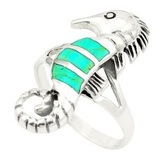 Fine green turquoise enamel 925 silver seahorse ring size 6.5 c12840