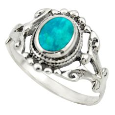 3.02gms fine green turquoise enamel 925 silver solitaire ring size 7 r41627