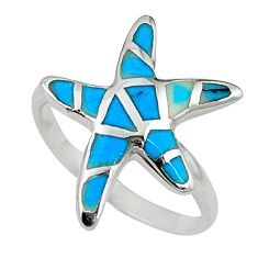 Fine green turquoise enamel 925 silver star fish ring size 6 a58902 c13382